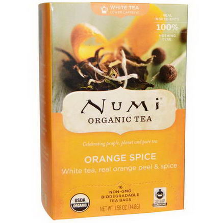 Numi Tea, Organic Orange Spice White Tea, 16 Tea Bags, 1.58oz (44.8g)