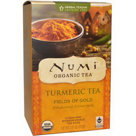 Numi Tea, Organic, Turmeric Tea, Fields of Gold, 12 Tea Bags, 1.31oz (37.2g)