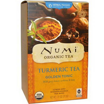 Numi Tea, Organic Turmeric Tea, Golden Tonic, Caffeine Free, 12 Tea Bags, 1.31oz (37.2g) Each
