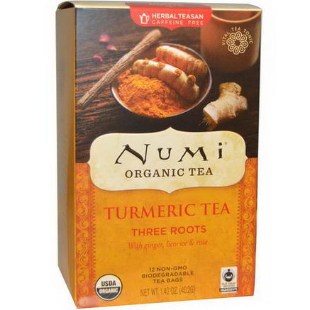 Numi Tea, Organic Turmeric Tea, Three Roots, Caffeine Free, 12 Tea Bags, 1.42oz (40.2g)