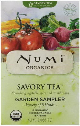 Numi Tea, Savory Tea, Garden Sampler, Variety of 6 Blends, 12 Tea Bags, 1.83oz (51.7g)