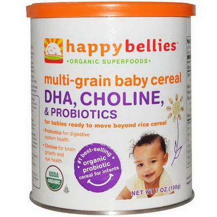 Nurture Inc. (Happy Baby), Happybellies, Multi-Grain Baby Cereal, DHA, Choline, and Probiotics, 7oz (198g)