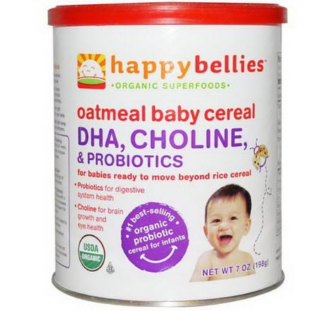 Nurture Inc. (Happy Baby), Happybellies, Oatmeal Baby Cereal, DHA, Choline, and Probiotics, 7oz (198g)