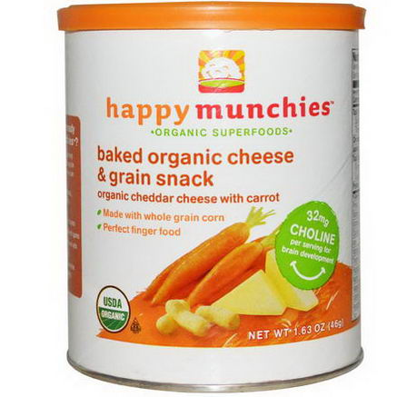 Nurture Inc. (Happy Baby), Happymunchies, Baked Organic Cheese & Grain Snack, Organic Cheddar Cheese with Carrot, 1.63oz (46g)