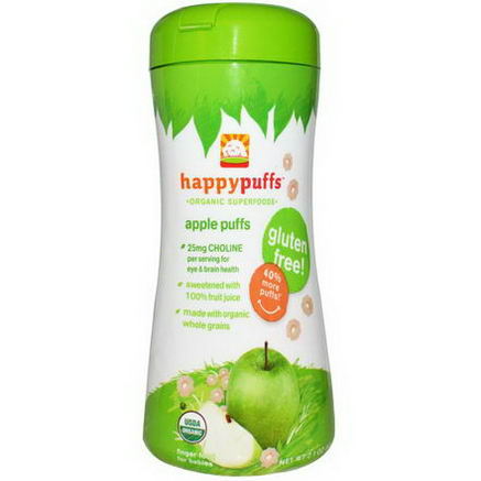 Nurture Inc. (Happy Baby), Happypuffs, Organic Superfoods, Apple Puffs, 2.1oz (60g)