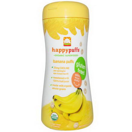 Nurture Inc. (Happy Baby), Happypuffs, Organic Superfoods, Banana Puffs, 2.1oz (60g)
