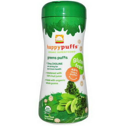 Nurture Inc. (Happy Baby), Happypuffs, Organic Superfoods, Greens Puffs, 2.1oz (60g)
