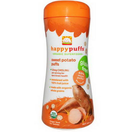 Nurture Inc. (Happy Baby), Happypuffs, Organic Superfoods, Sweet Potato Puff, 2.1oz (60g)