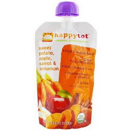 Nurture Inc. (Happy Baby), Happytot, Organic Superfoods, Sweet Potato, Apple, Carrot & Cinnamon, 4.22oz (120g)