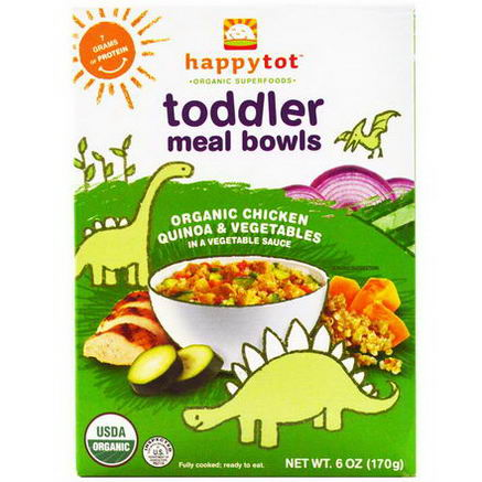 Nurture Inc. (Happy Baby), Happytot, Toddler Meal Bowls, Organic Chicken Quinoa & Vegetables, 6oz (170g)