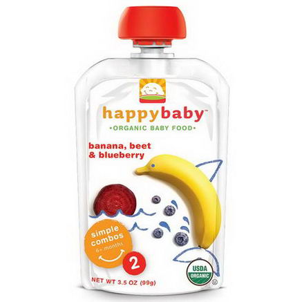 Nurture Inc. (Happy Baby), Organic Baby Food, Banana, Beets & Blueberry, Stage 2, 6+ Months, 3.5oz (99g)