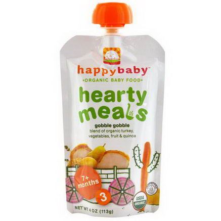 Nurture Inc. (Happy Baby), Organic Baby Food, Hearty Meals, Gobble Gobble, Stage 3, 4oz (113g)