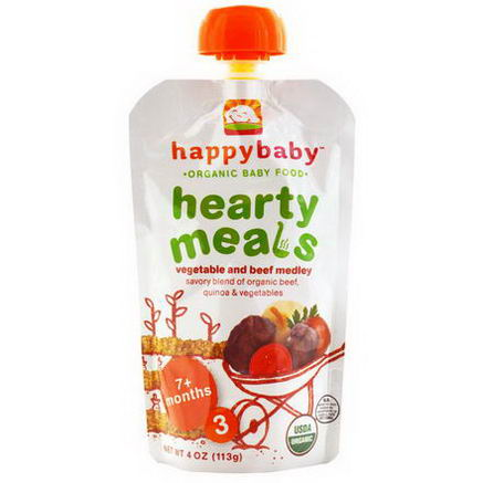 Nurture Inc. (Happy Baby), Organic Baby Food, Hearty Meals, Vegetable and Beef Medley, 7+ Months, Stage 3, 4oz (113g)