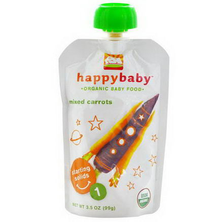 Nurture Inc. (Happy Baby), Organic Baby Food, Mixed Carrots, Stage 1, 3.5oz (99g)