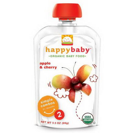 Nurture Inc. (Happy Baby), Organic Baby Food, Stage 2, 6+ Months, Apple & Cherry, 3.5oz (99g)