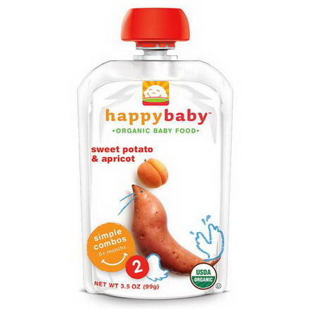 Nurture Inc. (Happy Baby), Organic Baby Food, Stage 2, 6+ months, Sweet Potato & Apricot, 3.5oz (99g)