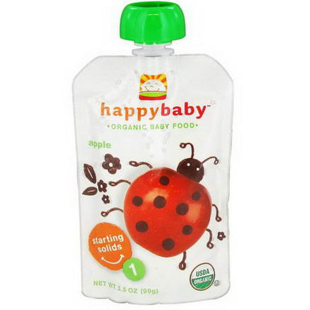Nurture Inc. (Happy Baby), Organic Baby Food, Starting Solids, Stage 1, Apple, 3.5oz (99g)
