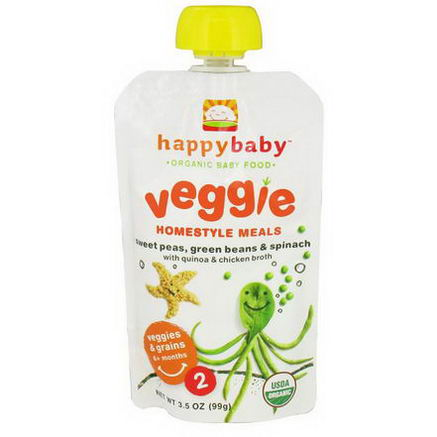 Nurture Inc. (Happy Baby), Organic Baby Food, Veggie Homestyle Meals, Sweet Peas, Green Beans & Spinach, with Quinoa & Chicken Broth, 3.5oz (99g)