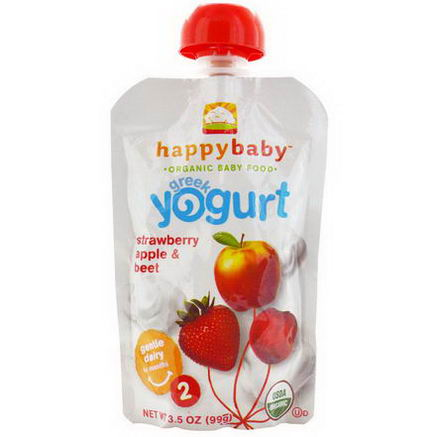 Nurture Inc. (Happy Baby), Stage 2, Greek Yogurt, Strawberry Apple & Beet, 3.5oz (99g)