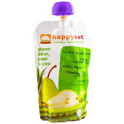Nurture Inc. (Happy Baby), happytot, Organic Superfoods, Green Bean, Pear and Pea, 4.22oz (120g)