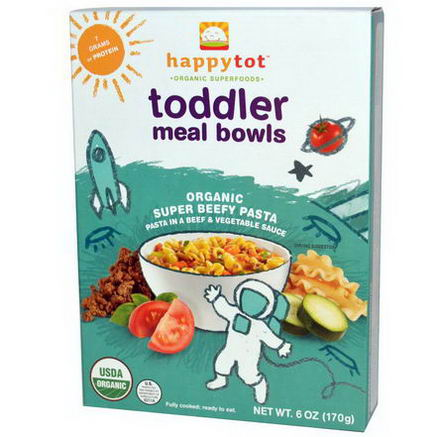 Nurture Inc. (Happy Baby), happytot, Toddler Meal Bowls, Super Beefy Pasta, 6oz (170g)