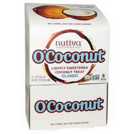 Nutiva, O'Coconut, Lightly Sweetened Coconut Treat, Classic, 24 Pieces, 0.5oz (14g) Each