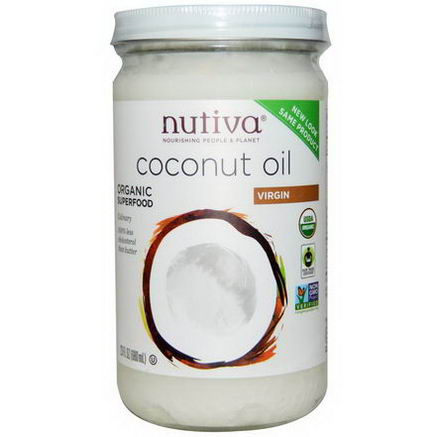 Nutiva, Organic Coconut Oil, Virgin, 23 fl oz (680 ml)
