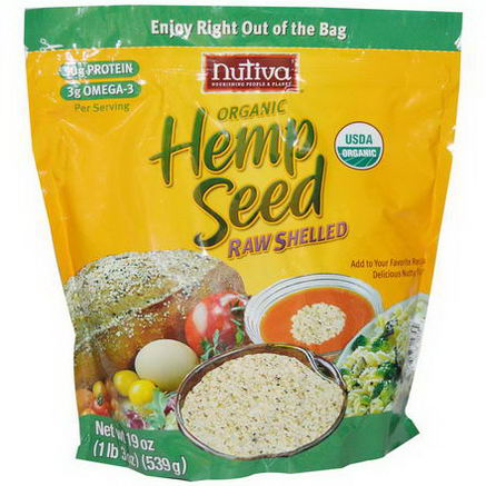 Nutiva, Organic Hemp Seed Raw Shelled, 19oz (539g)