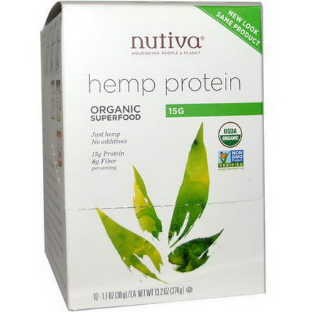 Nutiva, Organic Superfood, Hemp Protein, 12 Packets, 1.1oz (30g) Each