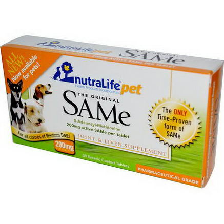 NutraLife, Pet, The Original SAMe, For All Classes of Medium Dogs, 200mg, 30 Enteric Coated Tablets