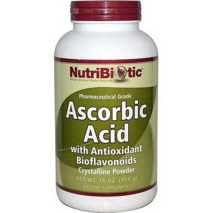 NutriBiotic, Ascorbic Acid with Antioxidant Bioflavonoids, Crystalline Powder, 16oz (454g)