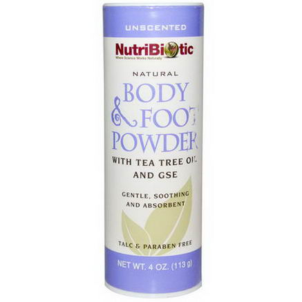 NutriBiotic, Natural Body & Foot Powder, Unscented, 4oz (113g)