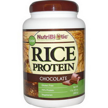 NutriBiotic, Raw Rice Protein, Chocolate, 1 lb 6.9oz (650g)