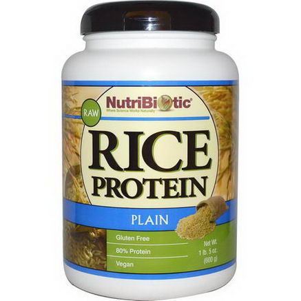 NutriBiotic, Raw Rice Protein, Plain, 1 lb.5oz (600g)