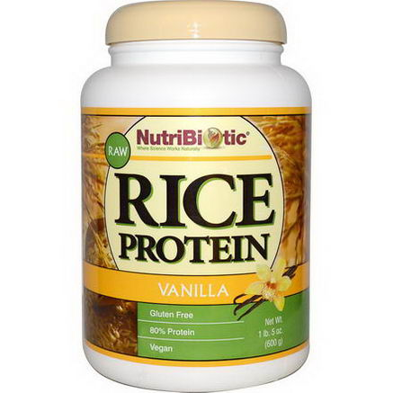 NutriBiotic, Raw Rice Protein, Vanilla, 1 lb5oz (600g)