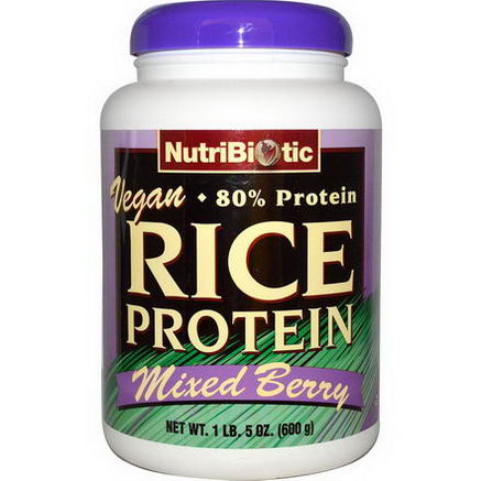 NutriBiotic, Rice Protein, Mixed Berry, 1 lb.5oz (600g)