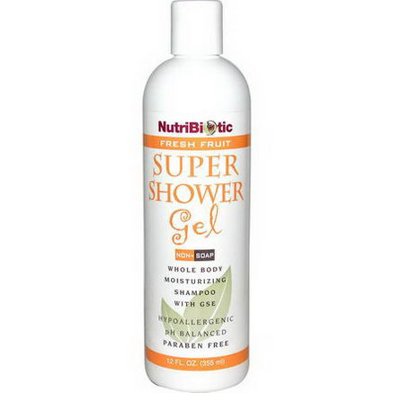NutriBiotic, Super Shower Gel, Fresh Fruit, Non-Soap, 12 fl oz (355 ml)