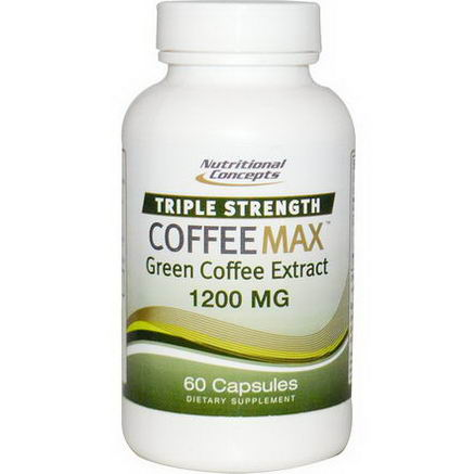 Nutritional Concepts, CoffeeMax, Triple Strength, Green Coffee Extract, 1200mg, 60 Capsules
