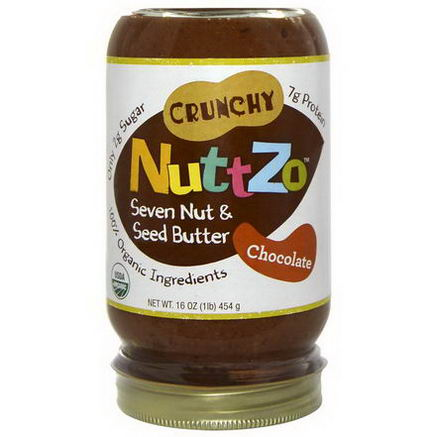 Nuttzo, Crunchy Seven Nut & Seed Butter, Chocolate, 16oz (454g)