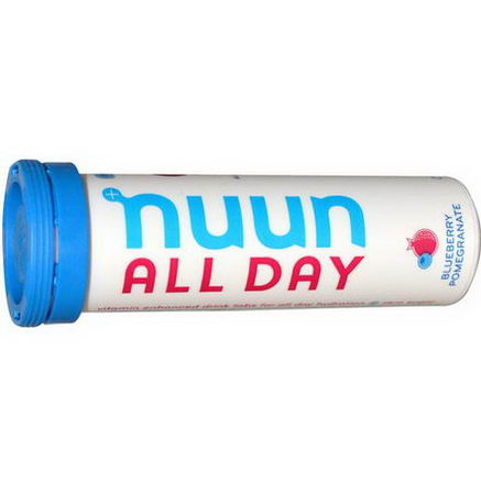 Nuun Hydration, Vitamin Enhanced Drink Tabs, All Day, Blueberry Pomegranate, 15 Tablets