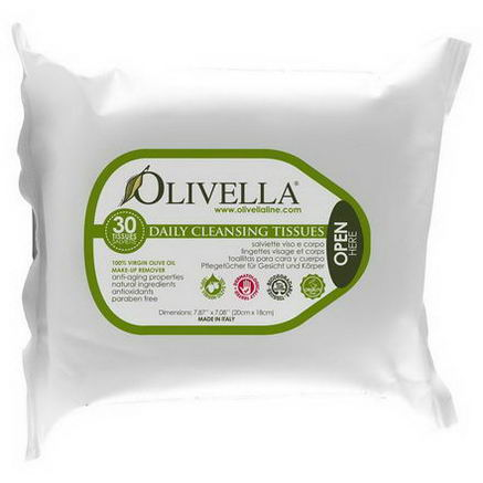 Olivella, Daily Cleansing Tissues, 30 Tissues, 7.87