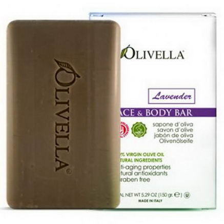 Olivella, Face & Body Bar, Lavender, 5.29oz (150g)