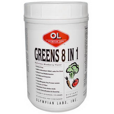 Olympian Labs Inc. Greens 8 in 1, Delicious Blueberry Flavor, 1 lb 11.32oz (775g)