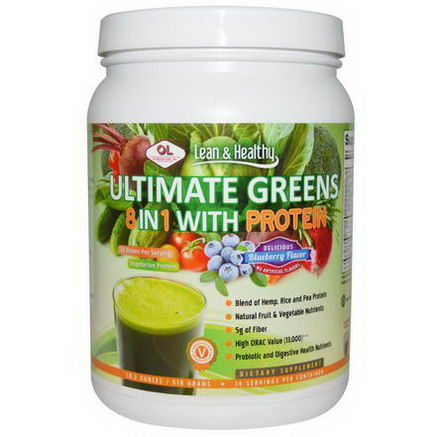 Olympian Labs Inc. Ultimate Greens 8 in 1 with Protein, Delicious Blueberry Flavor, 18.3oz (518g)