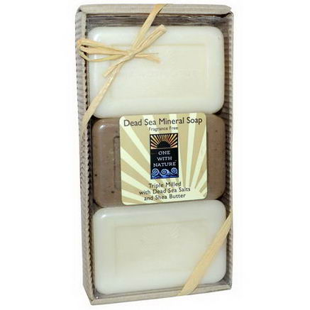 One with Nature, Dead Sea Mineral Soap, Fragrance Free, 3 Bar Gift Pack, 12oz