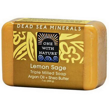 One with Nature, Triple Milled Soap Bar, Lemon Sage, 7oz (200g)