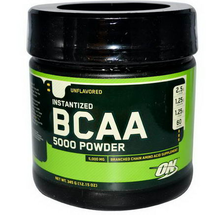 Optimum Nutrition, BCAA 5000 Powder, Instantized, Unflavored, 12.15oz (345g)