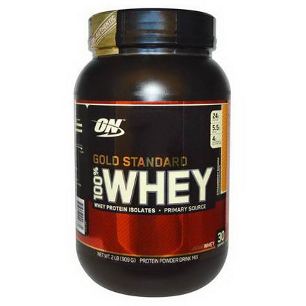 Optimum Nutrition, Gold Standard, 100% Whey, Protein Powder Drink Mix, Strawberry Banana, 2 lbs (909g)