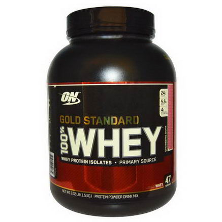 Optimum Nutrition, Gold Standard, 100% Whey Protein Powder Drink Mix, Strawberry Shake, 3.32 lb (1.5 kg)