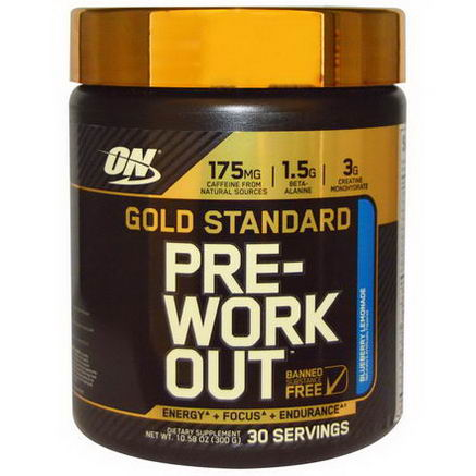 Optimum Nutrition, Gold Standard, Pre-Workout, Blueberry Lemonade, 10.58oz (300g)